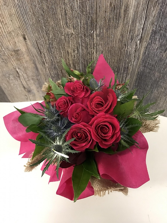Pink Beautiful In Burlap Bouquet